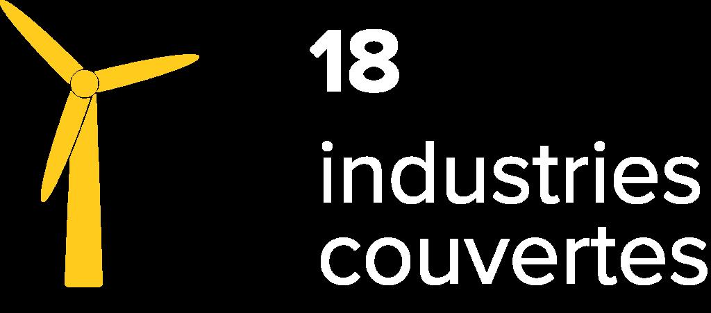18 industries couvertes
